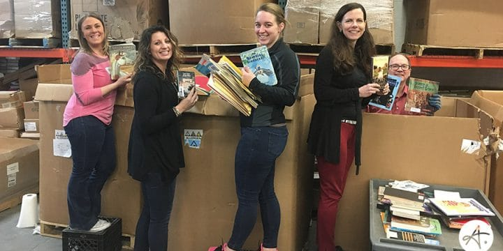 We sorted thousands of pounds of books to send to Africa
