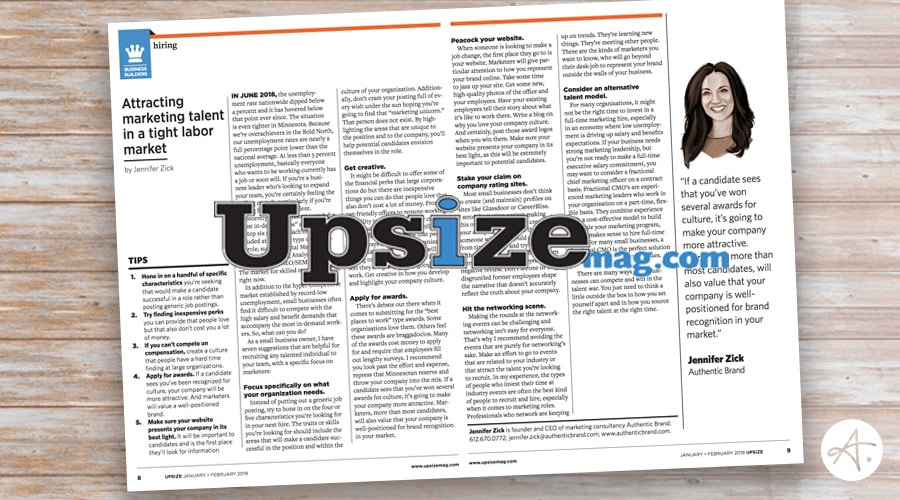 Jennifer Zick / Authentic Brand featured in Upsize Minnesota Magazine